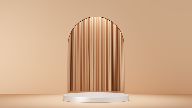 3d rendering background. white stage podium display product with a gold curtain archway wall. image for presentation.