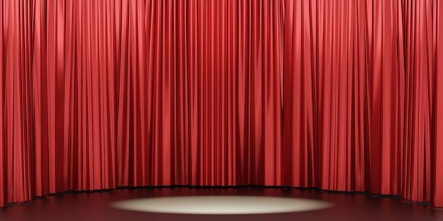 3d-рендеринг фона. широкая кривая красная глянцевая стена фона занавеса и центр внимания. изображение для презентации.