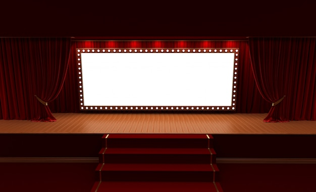 3d rendering of background with a red curtain and a spotlight. festival night show poster.