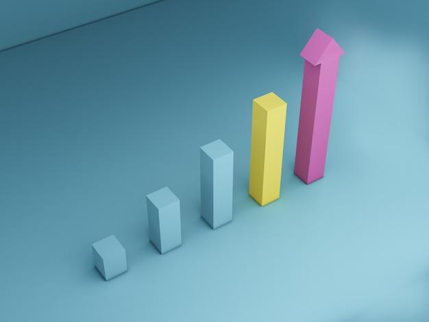 3dレンダリングバーgrapビジネスプログレスバービジネスインフォグラフィック用の最新の棒グラフ