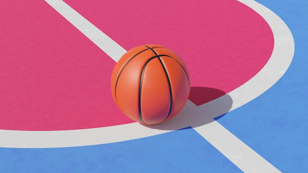 3d rendering of basketball ball on court