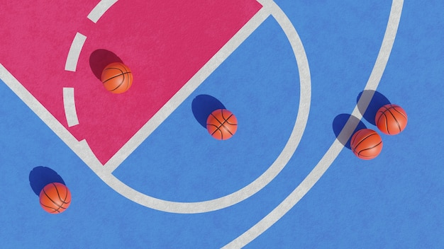3d rendering of basketball court from top view