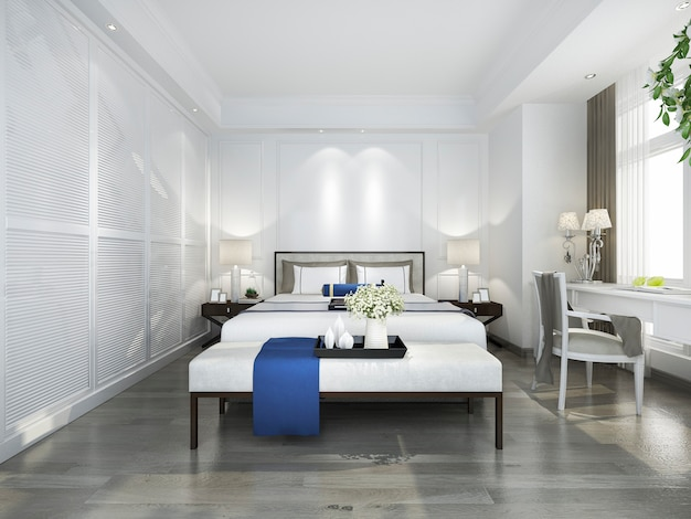 3d rendering of beautiful blue vintage bedroom suite in hotel with tv and working table
