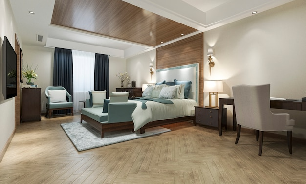 3d rendering of beautiful classic bedroom suite in hotel with tv and working table