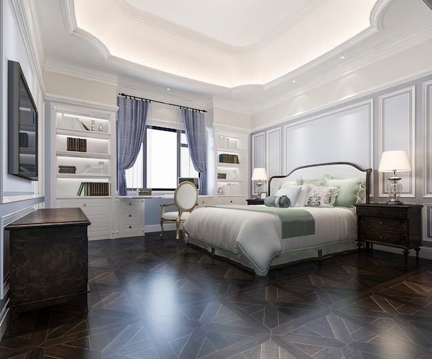 3d rendering beautiful classic luxury bedroom suite in hotel with tv and working table with european style