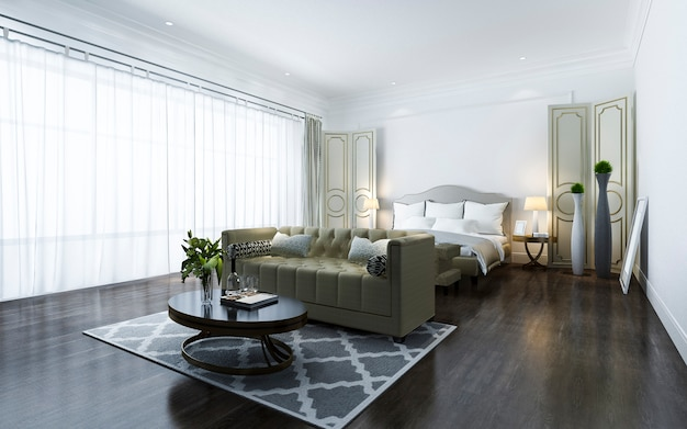 3d rendering beautiful classic luxury bedroom suite in hotel with tv