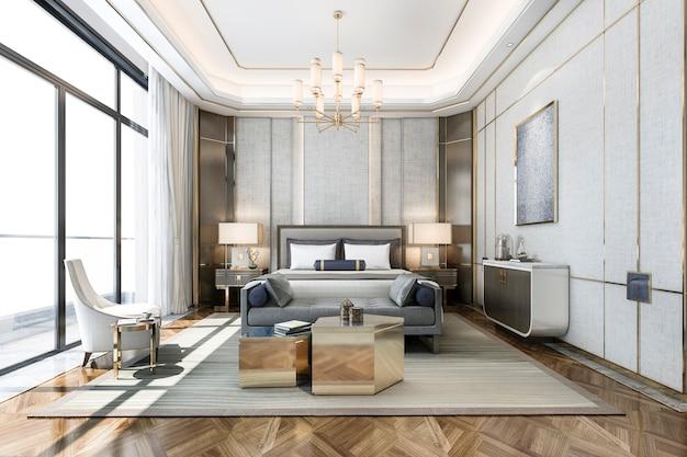Tv가있는 호텔의 3d 렌더링 아름다운 클래식 럭셔리 침실 스위트