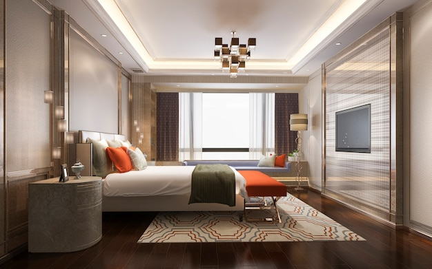 3d rendering beautiful classic orange luxury bedroom suite in hotel with tv
