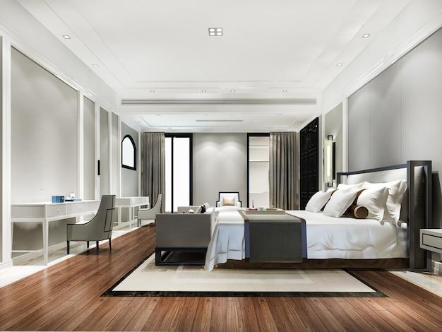 テレビとソファ付きのホテルの美しい現代的な豪華なベッドルームスイートの3dレンダリング