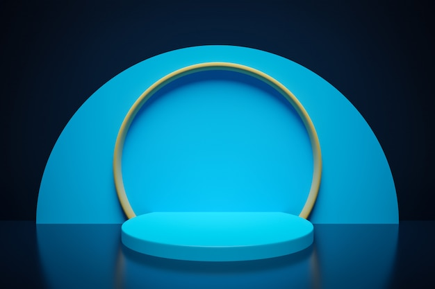 3d 렌더링. 아름다운 기하학적 아치, 게이트, 포털. 어두운 배경에 추상적 인 기하학적 아치입니다. 둥근 구멍, 블루 스크린이있는 벽 입구.