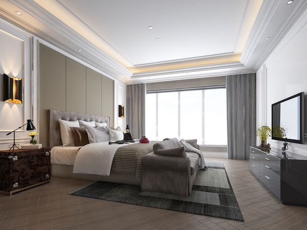 3d rendering of beautiful luxury bedroom suite in hotel with tv