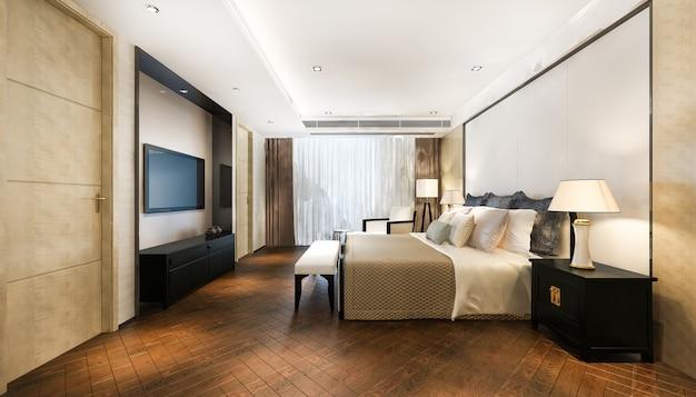 テレビと作業テーブルを備えたホテルの美しい豪華なベッドルームスイートの3dレンダリング