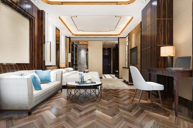 Tv와 작업 테이블이 있는 호텔의 3d 렌더링 아름다운 고급 침실 스위트