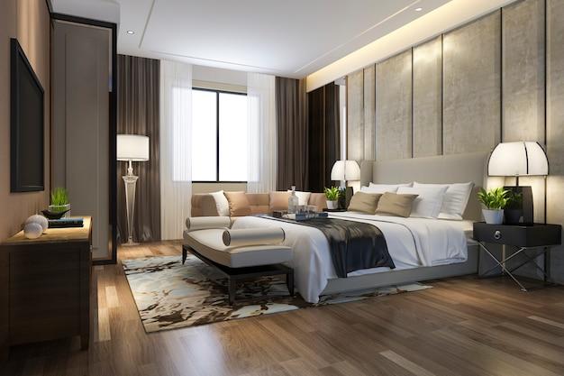 Tv와 작업 테이블이있는 호텔의 3d 렌더링 아름다운 럭셔리 침실 스위트