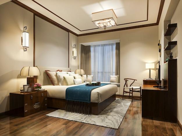 Tv와 호텔의 3d 렌더링 아름다운 럭셔리 침실 스위트