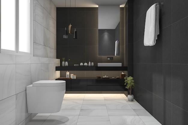 3d rendering beautiful luxury dark bathroom and toilet