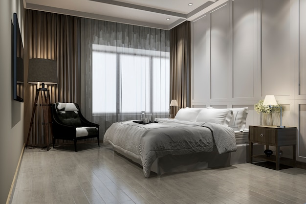 3d rendering beautiful luxury vintage bedroom suite in hotel with tv