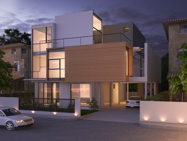 3d rendering beautiful modern black brick house near park and nature at night
