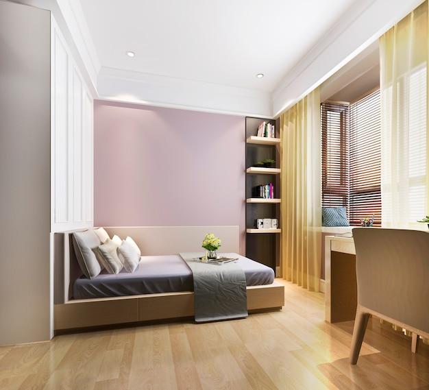 3d рендеринг красивая розовая винтажная детская спальня