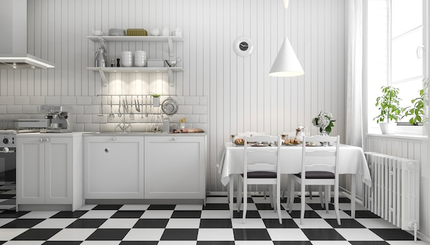 3d rendering beautiful scandinavian kitchen with black tile decor