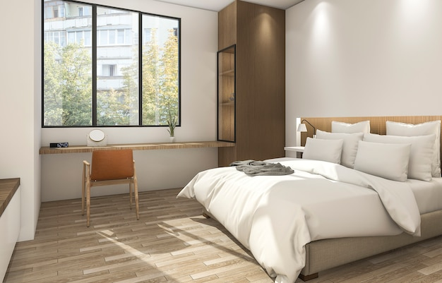 3d rendering beautiful small bedroom with nice decor and material
