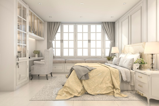 3d rendering beautiful vintage and classic kid bedroom