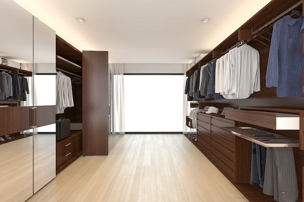 3d представляя красивый деревянный горизонтальный шкаф и прогулку в шкафе около окна