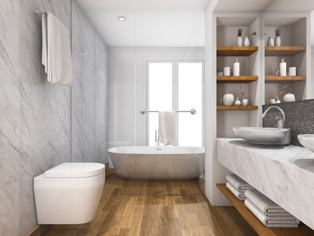 3d rendering beautiful wood and marble toilet and bathroom with built in