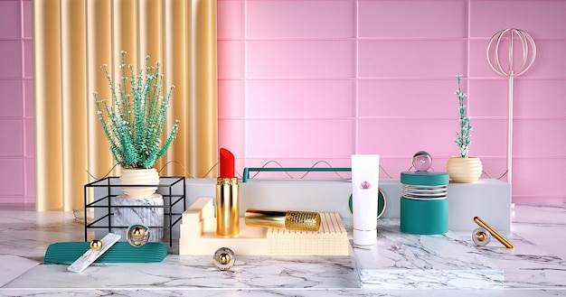 3d rendering of beauty products and lipsticks on a podium for a display mock up