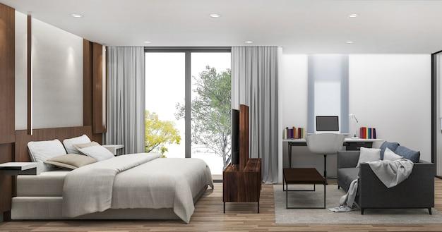 3d-рендеринг спальня с рабочим столом