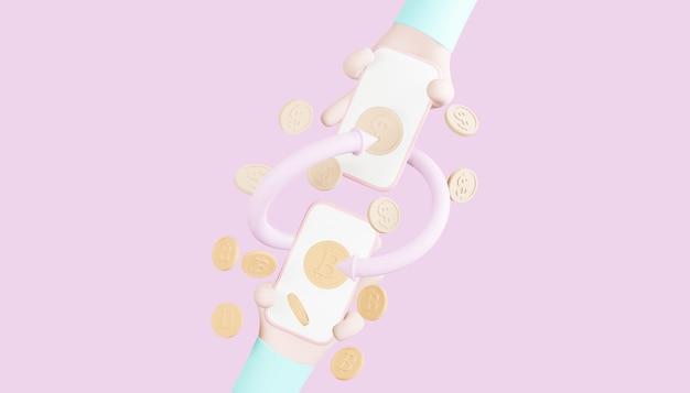 밝은 분홍색 배경에 3d 렌더링 bitcoin 디지털 머니 체인 개념
