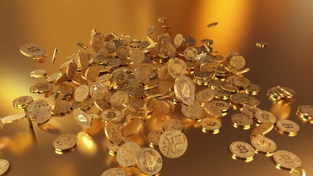 3d rendering bitcoins falling on a pile