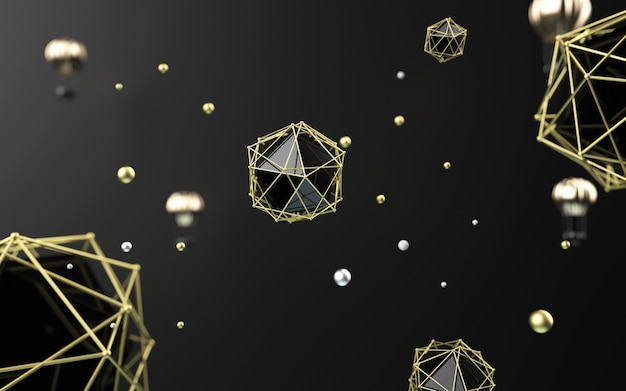 3d rendering of black abstract with gold lanterns for product display