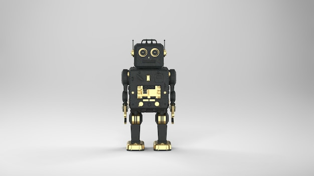 3d rendering black ai robot or cyborg on grey background