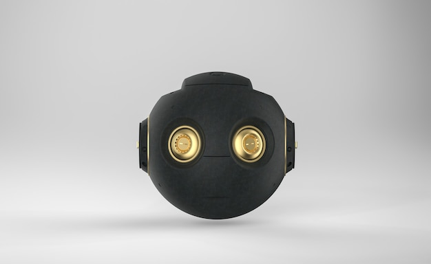 3d rendering black ai robot toy or cyborg on grey background