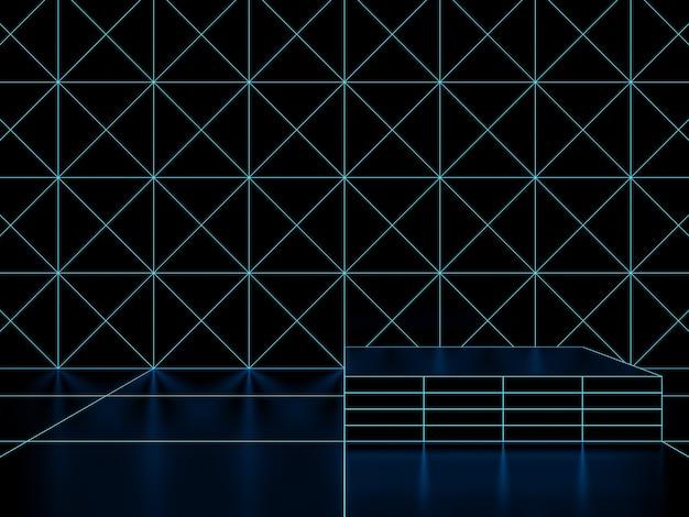 3d 렌더링. 검은색과 파란색 기하학적 격자 제품 스탠드 모형.