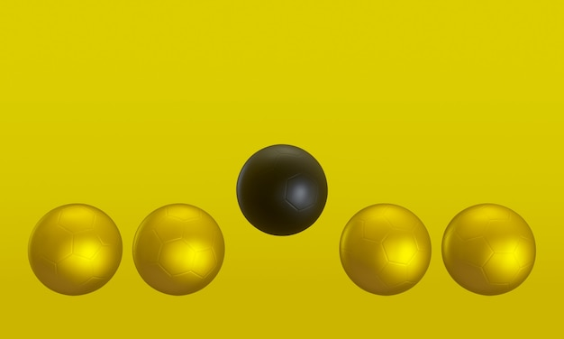 3d 렌더링. 노란색 바탕에 검정색과 금색 축구