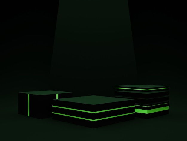 3d 렌더링. 검정과 녹색 연단입니다. 어두운 배경입니다.