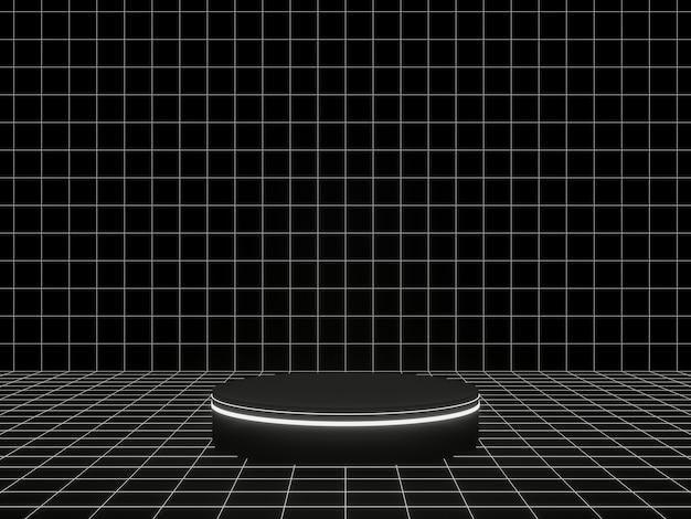 3dレンダリング。黒と白の幾何学的なグリッド製品スタンド。