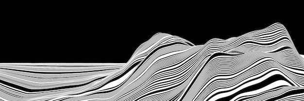 3dレンダリング。黒と白の地形の山。剥ぎ取られた地形。