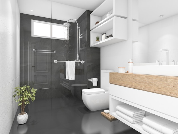 3d rendering of black bathroom with shower and toilet