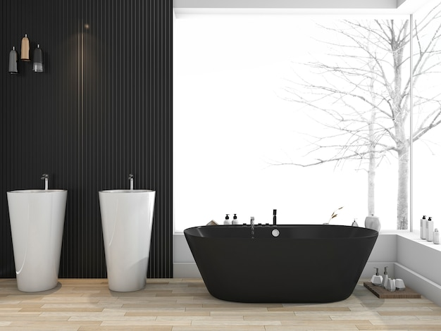 3d rendering black bathtub near window in bathroom