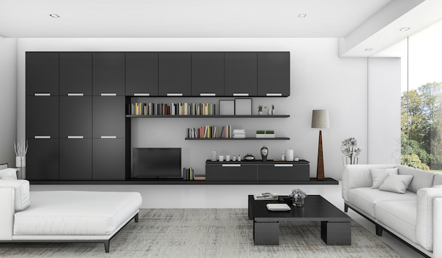 3d rendering black built in shelf and sofa bed in living room