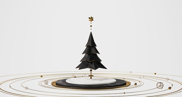 3d rendering of a black christmas tree floating above the white marble stage with golden golden balls, stars and rings floating around, abstract minimal concept.