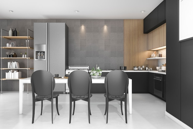 3d rendering black decor kitchen with wood design