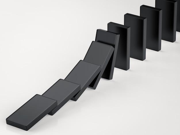 3d рендеринг черные домино падают
