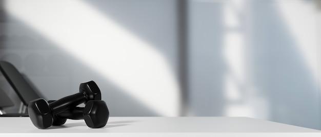 3d rendering, black dumbbells on the floor in dark concept fitness room with training equipments