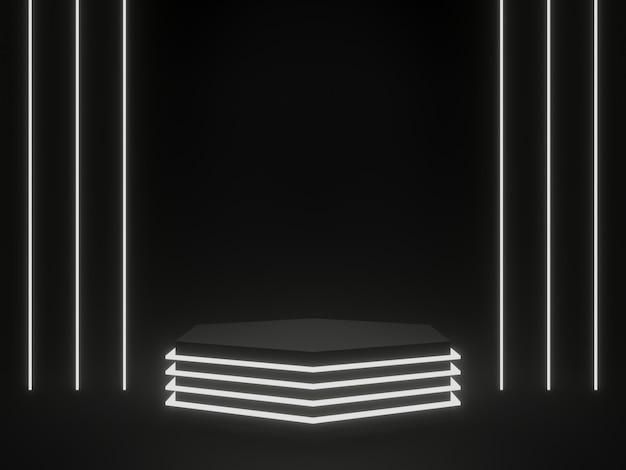 3d 렌더링 흰색 네온 빛으로 검은 기하학적 공상 과학 제품 스탠드