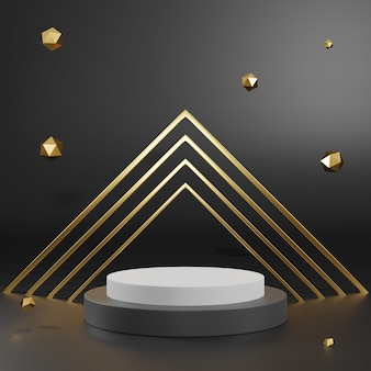 3d rendering of black gold pedestal podium on clearly background, abstract  minimal podium blank space for beauty cosmetic product,