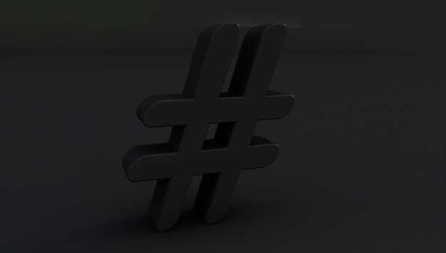 3d rendering of  black hashtag icon on black background.